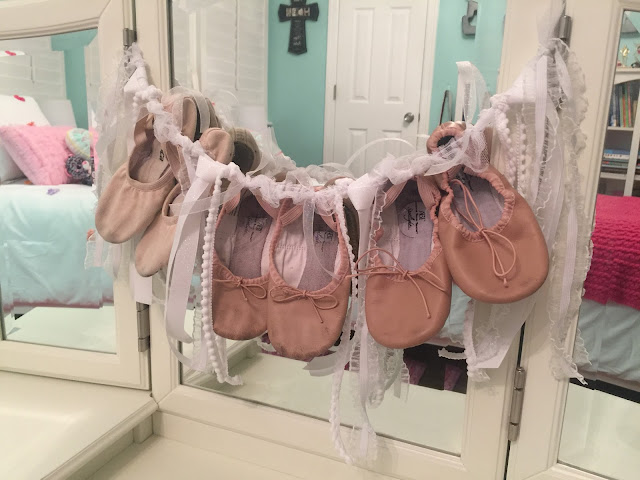 ballet shoe garland using outgrown ballet shoes