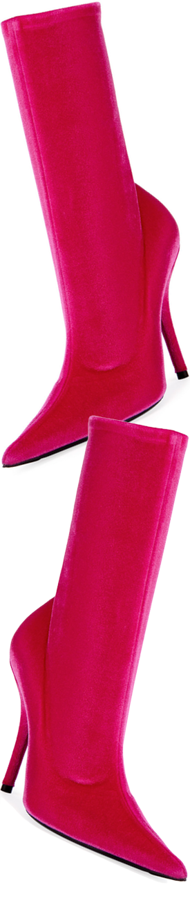 Balenciaga Velvet Sock Pull-On Bootie, Rose Fuchsia