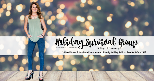 holiday, survival, group, accountability, tips, nutrition, mom, easy, simple, results, stay, on track, menus, 12 days of giveaways, recipes