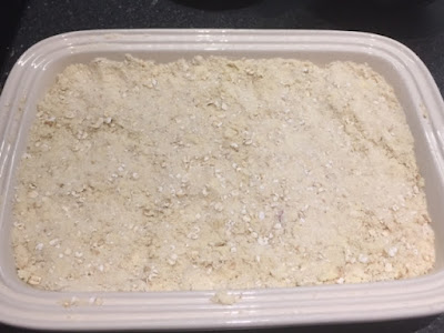 Crumble ready to go in the oven