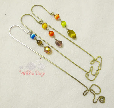 Wire bookmarks for letter A, Y and R