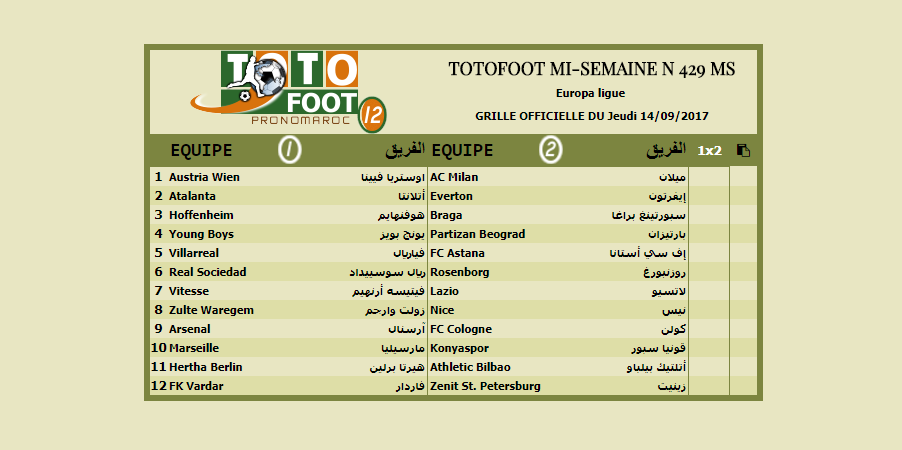 PRONOSTIC TOTOFOOT MI-SEMAINE N 429 MS