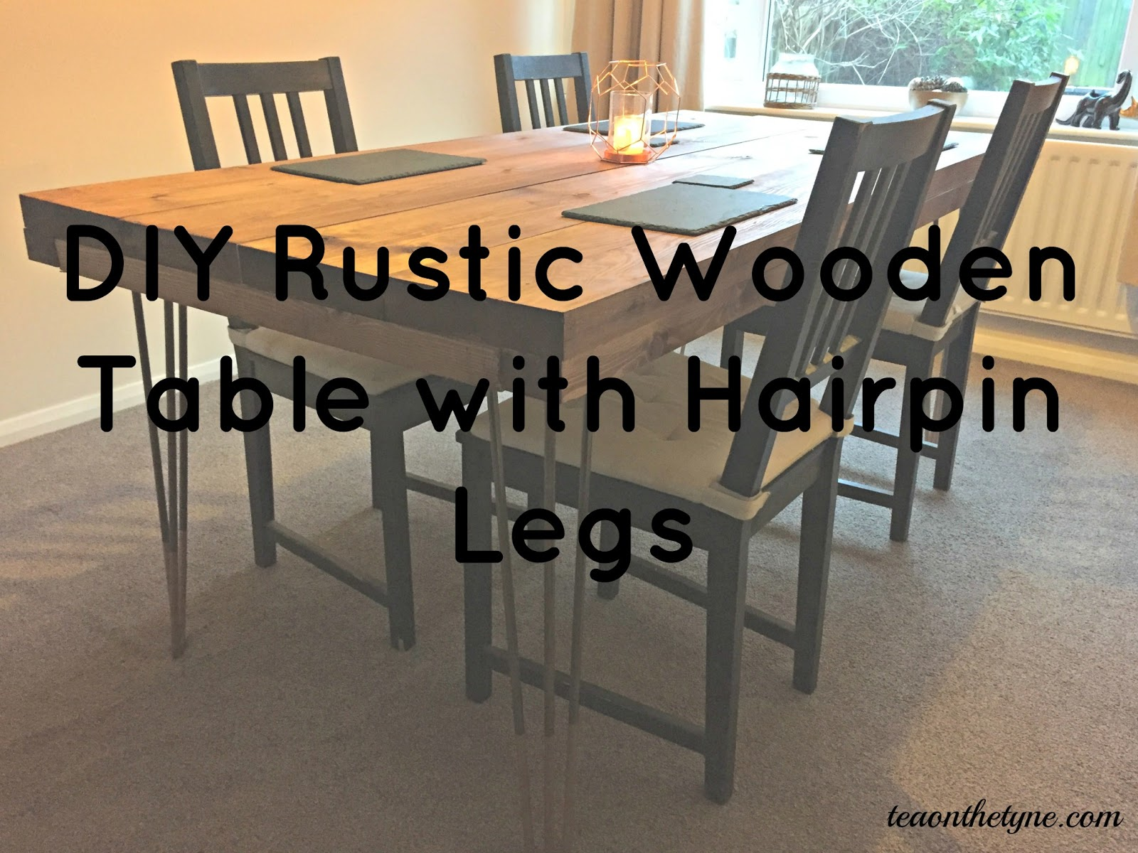 DIY Tutorial - Rustic Dining Table with Hairpin Legs