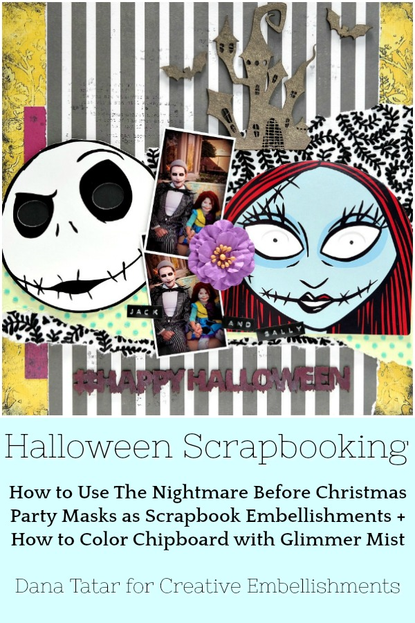 The Nightmare Before Christmas Jack and Sally Halloween Scrapbook Layout with Chipboard Embellishments