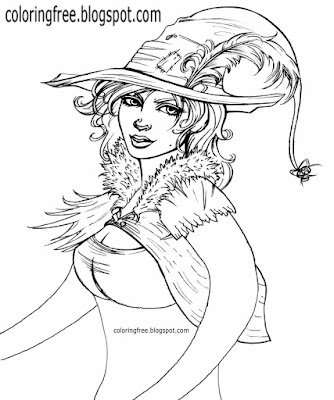 Printable magical colouring book pages very pretty lady cute witch Halloween drawings for teenagers