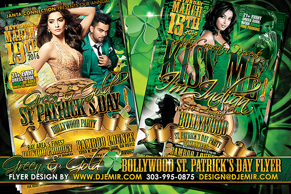 Kiss me I'm Indian Green And Gold Bollywood St. Patrick's Day Party Flyer designs