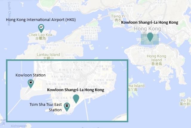 Location map of Kowloon Shangri-La Hong Kong courtesy of Google Maps