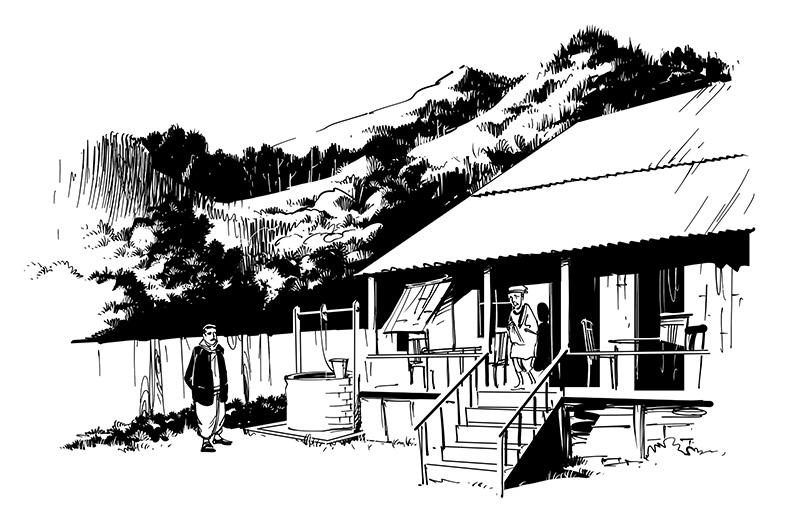 horror illustration dark ghostly hill bungalow