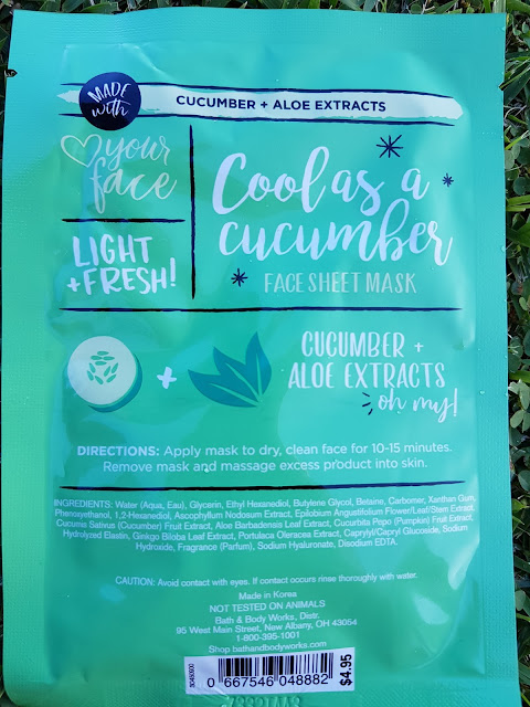 Bath and Body Works 'Cool As A Cucumber' Face Sheet Mask ingredients - www.modenmakeup.com