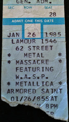 Here's a ticket stub from the January 26th Metallica/WASP show