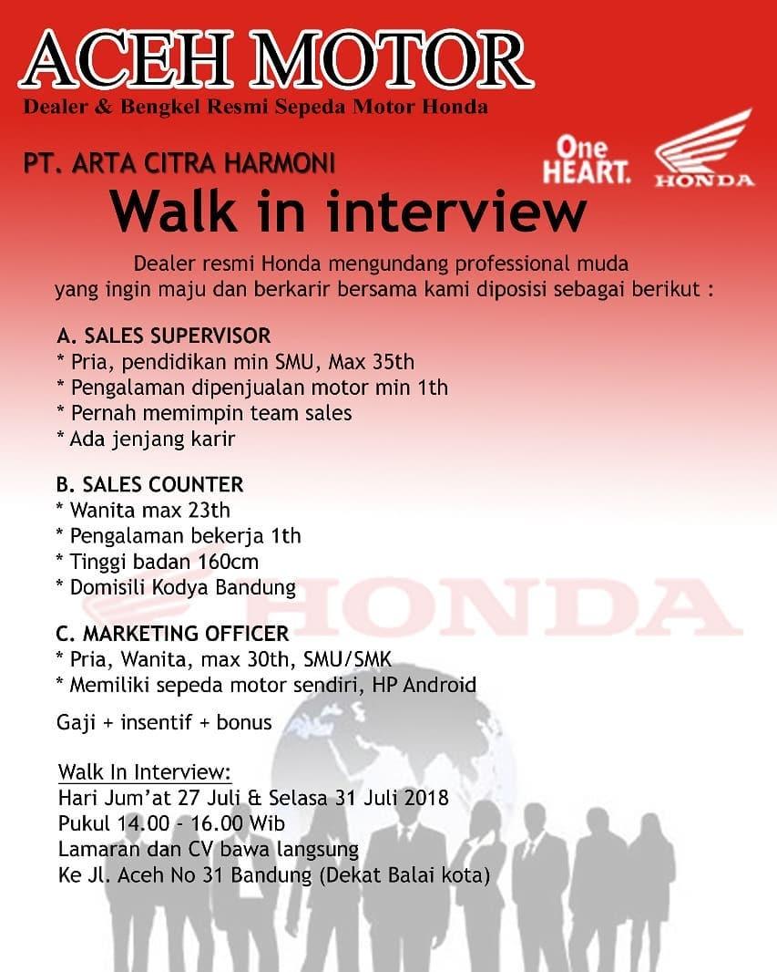 Lowongan Kerja Dealer Motor Honda Bandung Ahass 2019 2021