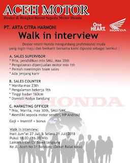 Lowongan Kerja Dealer Motor Honda Bandung Terbaru 2019 Untuk SMP,  SMA,  SMK,  MA,  D1, D3,  S1