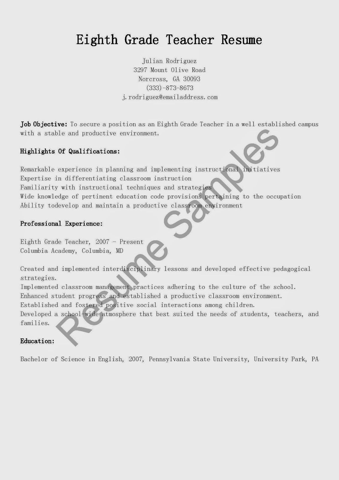 Custom resume writing 8th grade