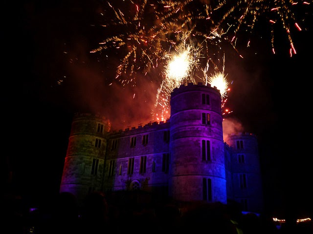 fireworks over the castle at camp bestival festival