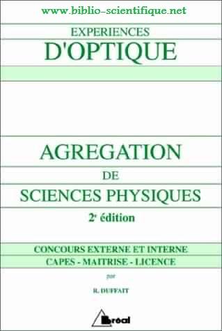 Livre : Expériences d'optique - Agrégation de sciences physiques