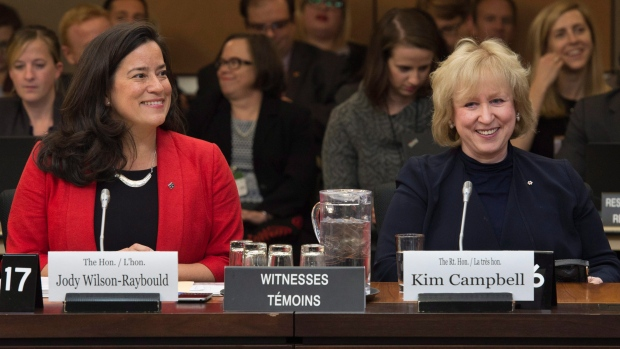 Jody Wilson-Raybould and Kim Campbell at hearings held by the Committee on Justice and Human Rights