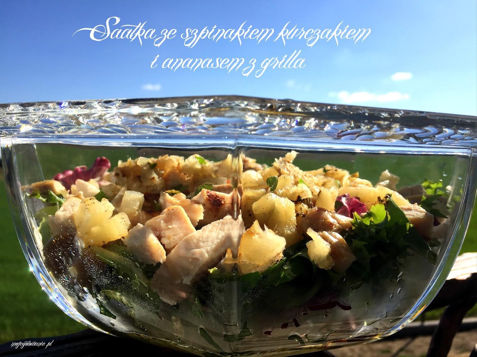Moje Gotowanie Salatka Ze Szpinakiem Kurczakiem I Ananasem Z Grilla