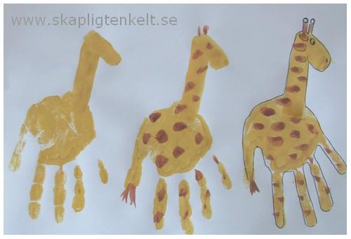 Giraff - tryck med handen