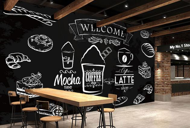 lukisan dinding cafe hitam putih, Desain interior dinding cafe kekinian