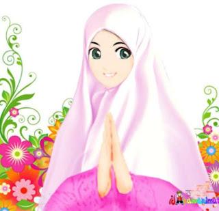 kartun muslimah imut dengan background bunga