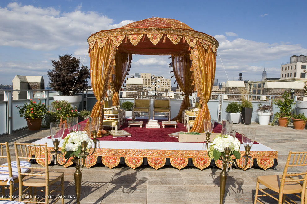 Beautiful Outdoor Wedding Ceremony At Tribeca Rooftop: Sonal J. Shah Event Consultants, LLC: NYC Rooftop Venues