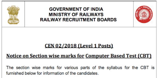 Notice- RRB Group D Exam Pattern for CBT 2018