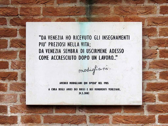 Plaque about Modigliani, Venice