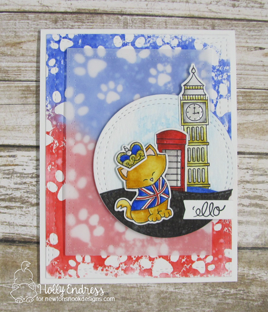 'ello Card by Holly Endress | Newton Dreams of London Stamp Set & Pawprints Stencil by Newton's Nook Designs #newtonsnook #handmade