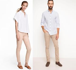 Bej renk pantolon kombini bayan-erkek