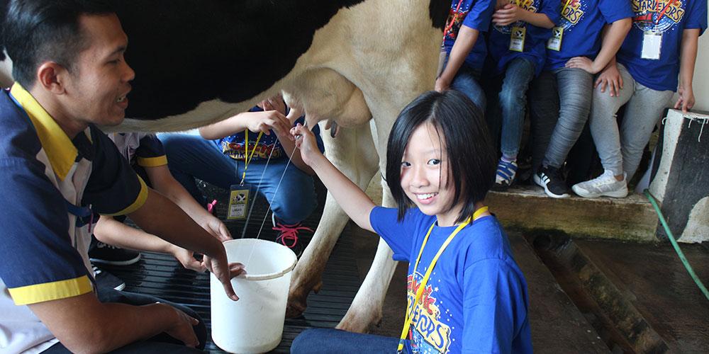 Kunjungi Cimory, Siswa SD Kalam Kudus Belajar Membuat Yoghurt