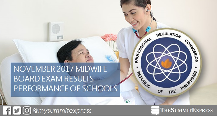 Performance of schools: November 2017 Midwife board exam results