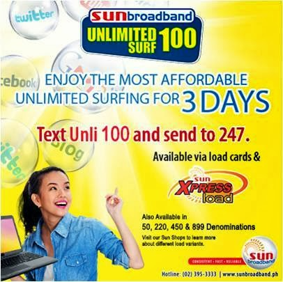 12fb95c003b3d0 ... Get the most affordable unlimited surfing for 3 days for only P100 from  Sun Broadband!
