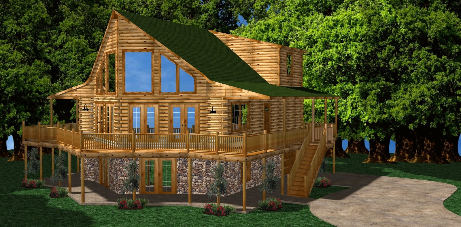 Introducing The 2098 Sq Ft Bent Creek Log Cabin Kit It Has 2 Bedrooms 25 Baths Great Room Kitchen Dining 1 Story Open Floor Plan And Porch