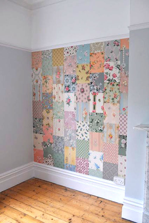 Dress up a wall with patchwork wallpaper pieces