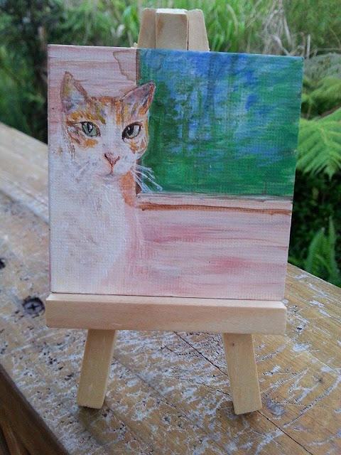 El Gato miniature painting by D.Leah Cochran