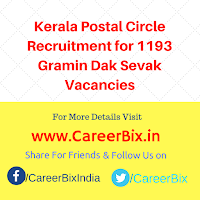 Kerala Postal Circle Recruitment for 1193 Gramin Dak Sevak Vacancies
