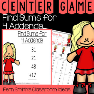 2nd Grade Go Math 4.12 Find Sums for 4 Addends Center Games