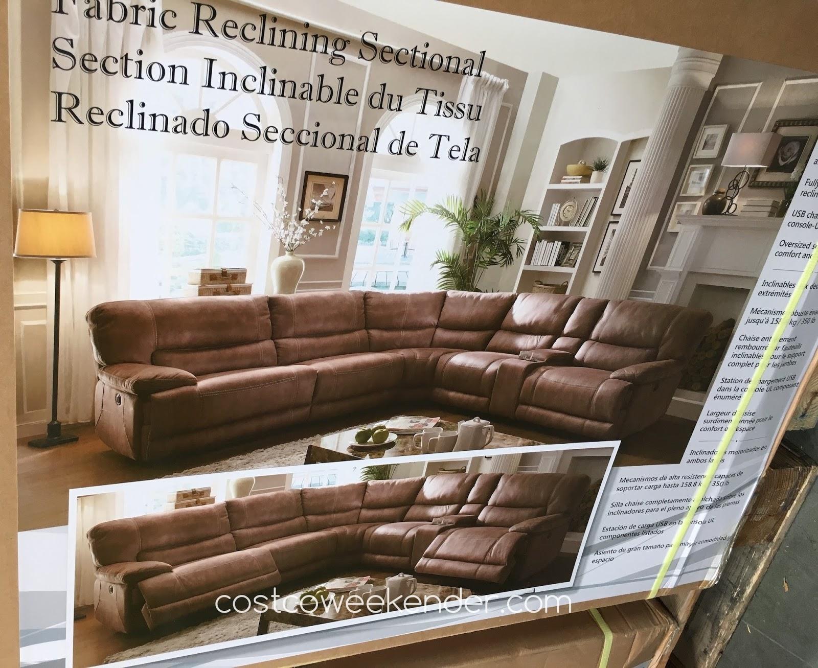 costco fabric reclining sofa hannah power sectional weekender