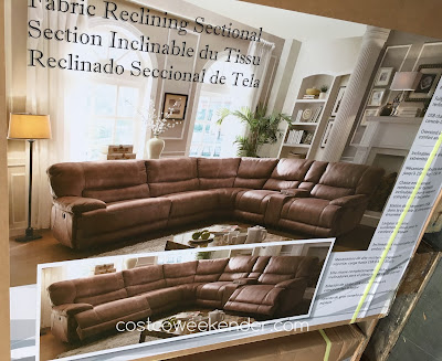 Costco 617592 - Fabric Power Reclining Sectional - great for any home's living room or family room