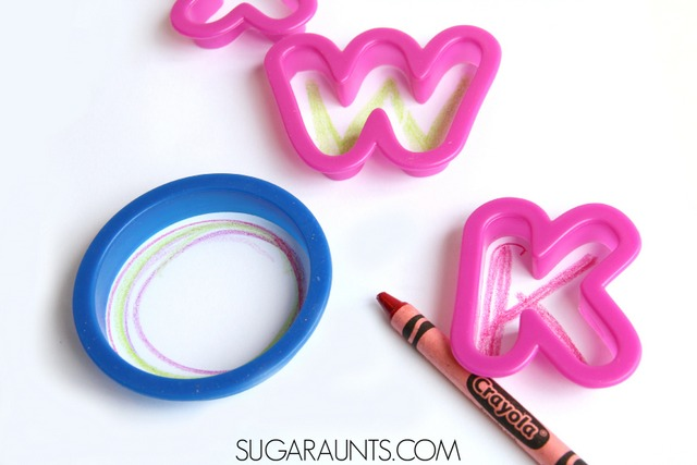 Use cookie cutters to help with handwriting