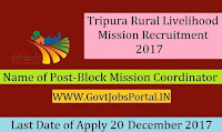 Tripura Rural Livelihood Mission Recruitment – 69 Block Mission Coordinator, Cluster Coordinator