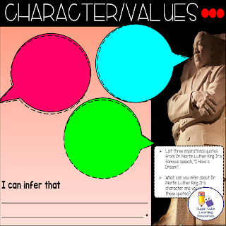 """Google Slide: infer Dr. Martin Luther King Jr.'s character and values using quotes from his """"I Have a Dream"""" speech."""