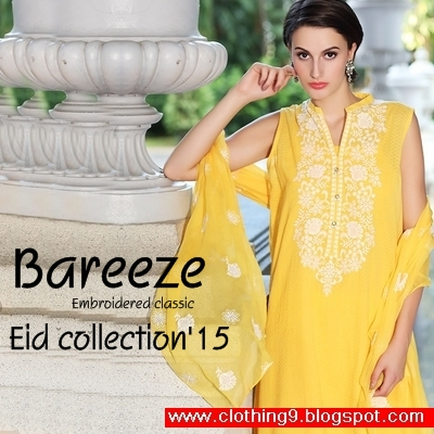 9a985ce1622 Bareeze Eid Collection 2015 with huge range of embroidered dresses made by  Chiffon