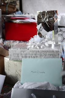 eco-friendly green wedding gift pile