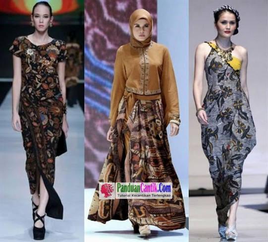 Gaun Batik Pesta 3 Model Baju Dress Kombinasi Brokat Untuk Wanita