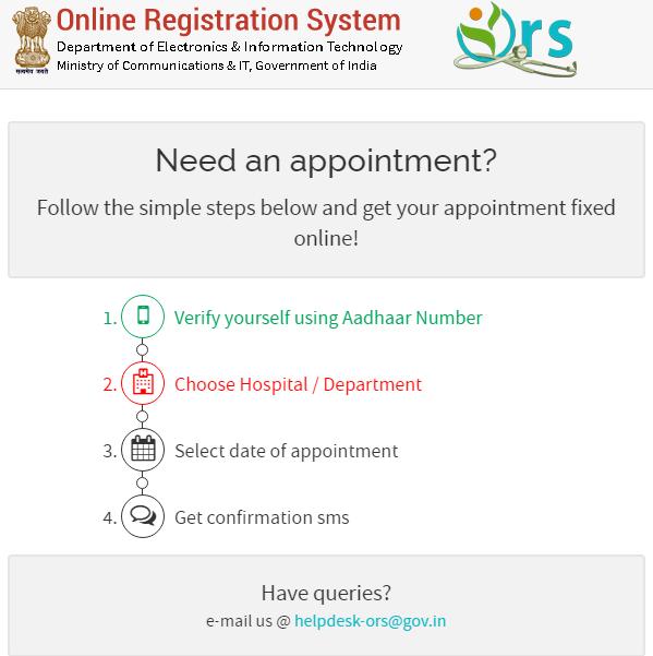 online Registration System steps for Appointment