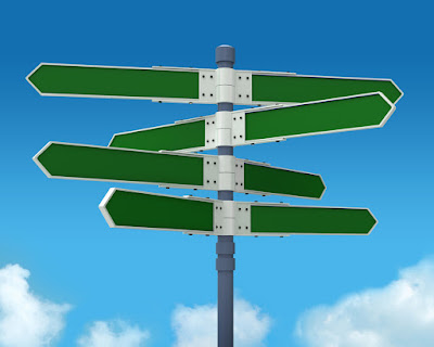 a sign post with all directional signs blank
