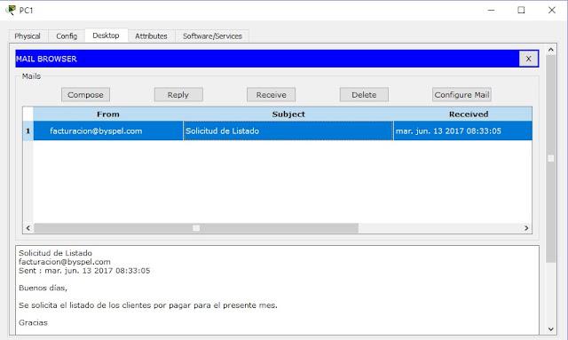 Bandeja de entrada correo electrónico packet tracer
