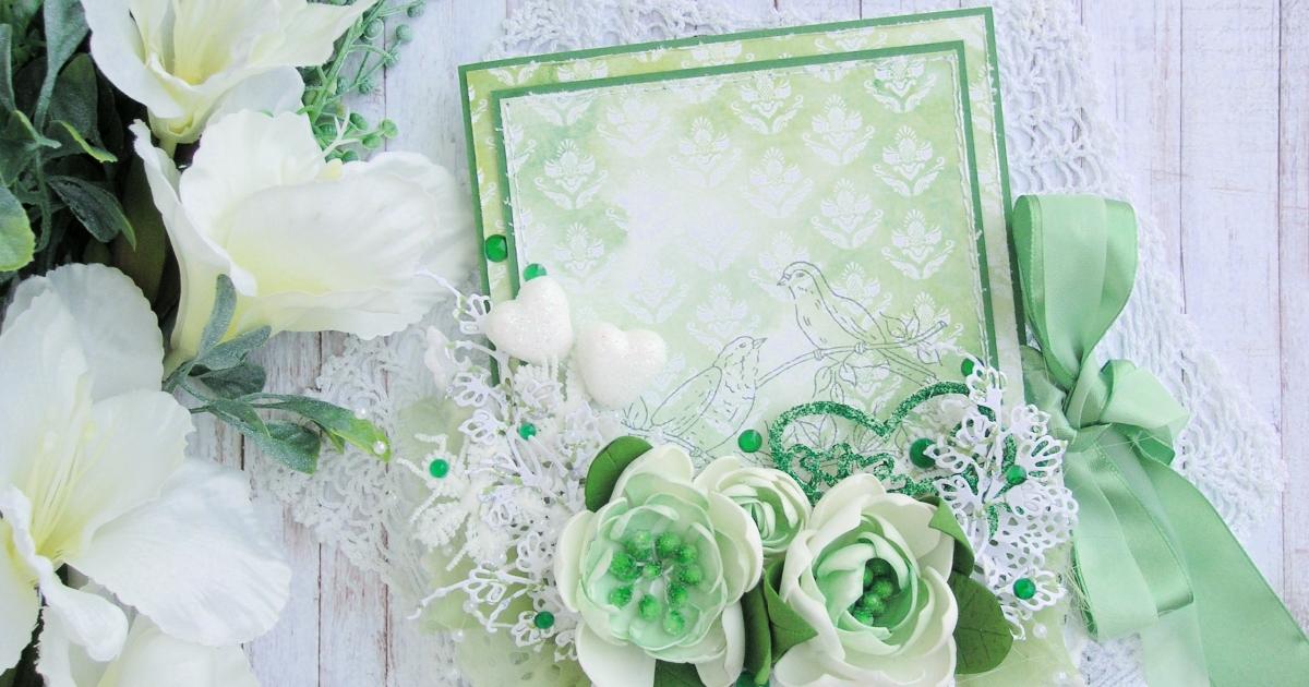 Фото анимация, зеленая свадебная открытка