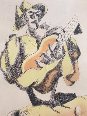 Ossip Zadkine - Il chitarrista - acquaforte - arte - annunci